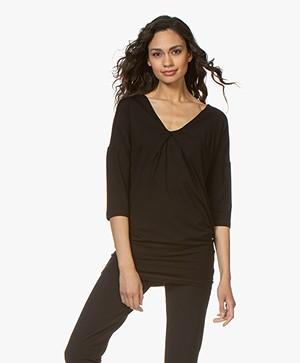 Kyra & Ko Romee T-shirt met Plooidetail - Zwart