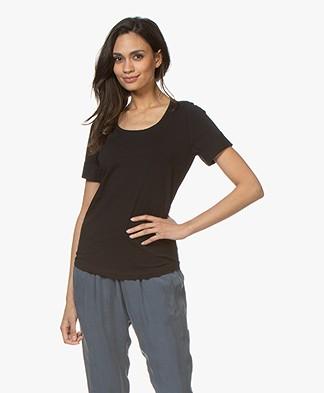 Repeat Katoenen T-shirt met Ronde Hals - Zwart