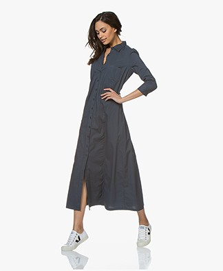 no man's land Poplin Maxi Shirt Dress - Vintage Blue