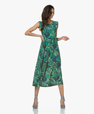 indi & cold Crepe Dress with Tropical Print - Indigo