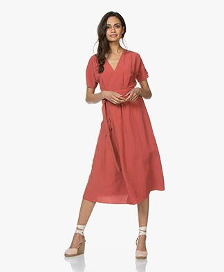 indi & cold Linen Blend Wrap Dress - Ambar