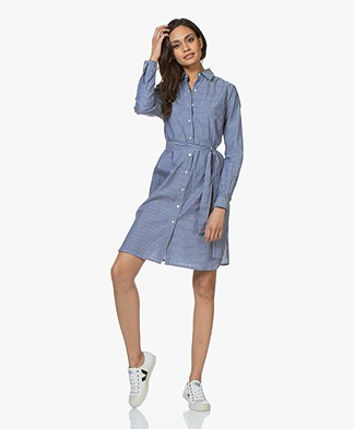 no man's land Striped Poplin Shirt Dress - Indigo