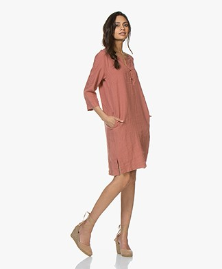 no man's land Pure Linen Tunic Dress - Copper