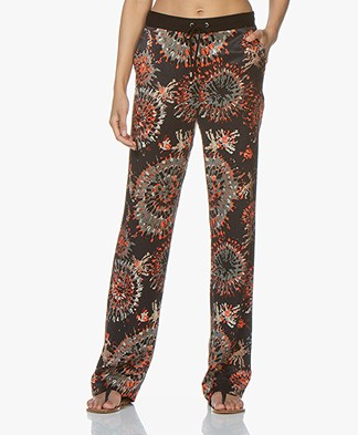 Kyra & Ko Afke Print Pants in Cupro Blend - Black