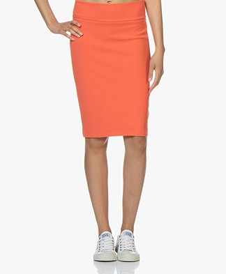 Kyra & Ko Claudia Crepe Jersey Pencil Skirt - Coral