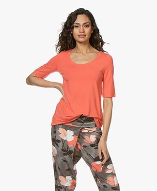Kyra & Ko Hetta Jersey R-hals T-shirt - Coral