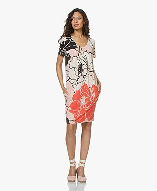 Kyra & Ko Irena Tunic Dress with Floral Print - Peach