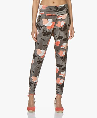 Kyra & Ko Isla Jersey Harem Pants with Print - Grey