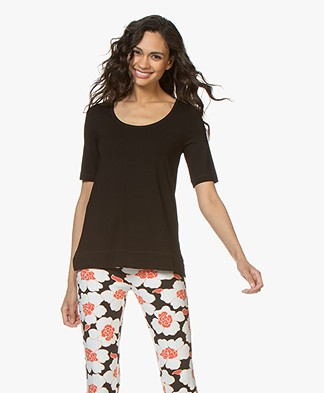Kyra & Ko Hetta Jersey R-hals T-shirt - Zwart