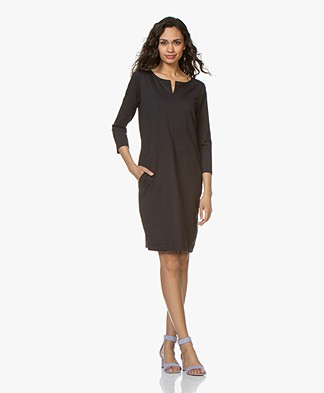 Kyra & Ko Moniek Travel Jersey Slit Neck Dress - Black