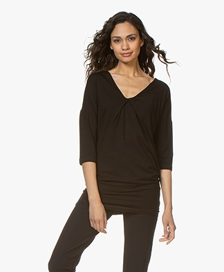 Kyra & Ko Romee T-shirt with Pleat Detail - Black