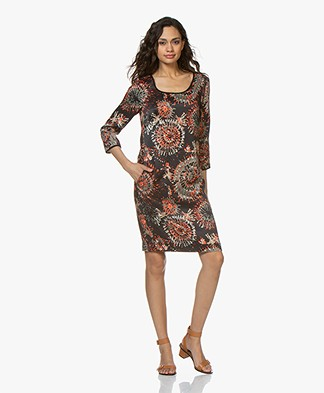 Kyra & Ko Sandra Print Dress in Cupro Blend - Black