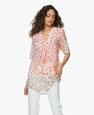Kyra & Ko Zena Print Blouse with Short Sleeves - Peach