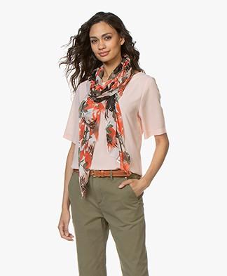 Kyra & Ko Ivy Gebloemde Modal Sjaal - Coral