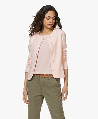 Kyra & Ko Estelle Textured Blazer Cardigan - Peach
