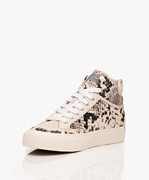 Rag & Bone RB Army High Leather Snake Print Sneakers - Ecru/Black