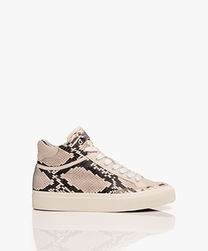Rag & Bone RB Army High Leren Slangenprint Sneakers - Ecru/Zwart