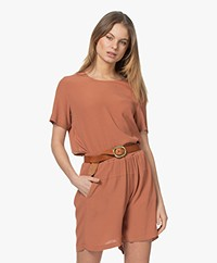 by-bar Silke Crepe Viscose Blouse with Short Sleeves - Copper