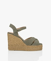 Castaner Blaudell 10,5cm Canvas Espadrille Wedge Sandals - Olive
