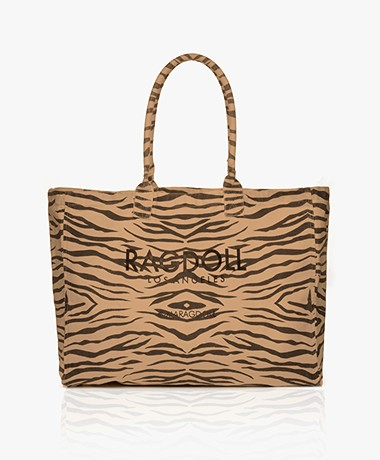 Ragdoll LA Holiday Canvas Zebra Shopper - Bruin