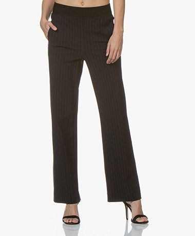 no man's land Travel Jersey Pinstripe Pants - Blue Black