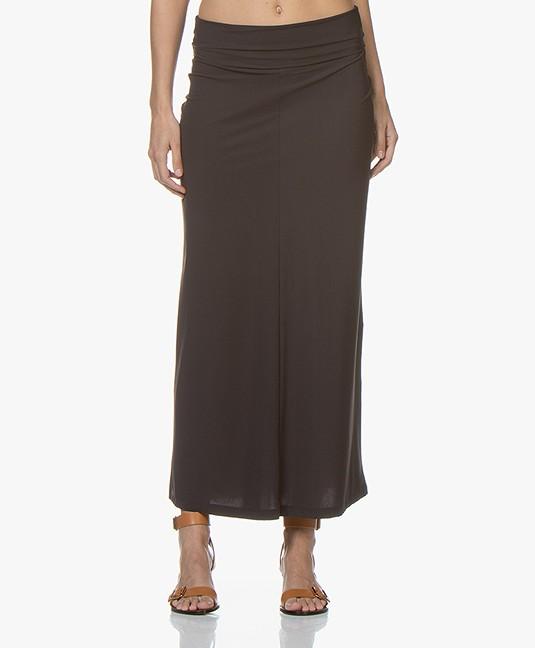 3532f096157252 no man s land Travel Jersey Maxi Skirt - Brown Black - 51.977 9f79