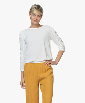 By Malene Birger Crêpe T-shirt with Ruched Sleeves - Soft White