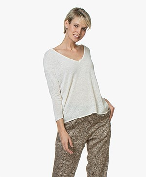 American Vintage Runyday Linen Blend Sweater - Pearl