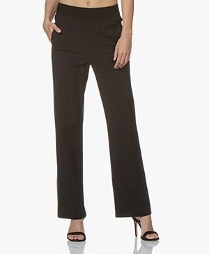 no man's land Travel Jersey Pinstripe Pants - Blue Black