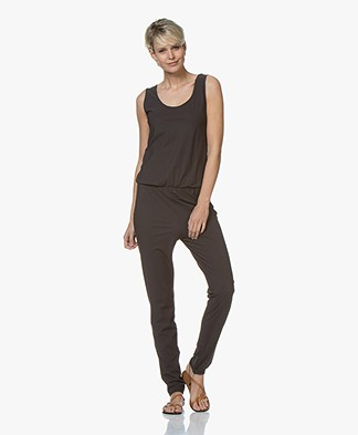 no man's land Travel Jersey Jumpsuit - Brown Black