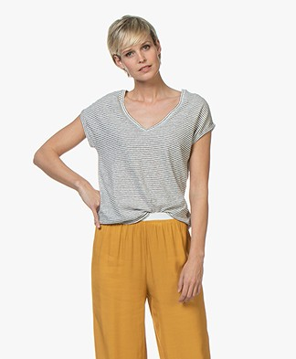 BY-BAR Mila Striped Linen Blend T-shirt - Off-white