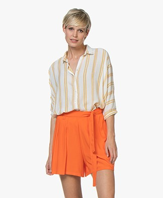 BY-BAR Norel Striped Viscose Blouse - Off-white