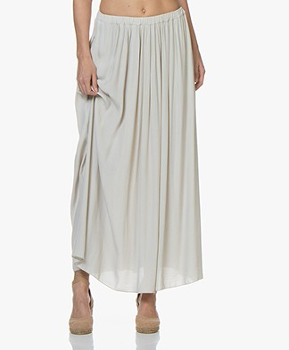 BY-BAR Linde Viscose-Crêpe Maxi Rok - Light Stone