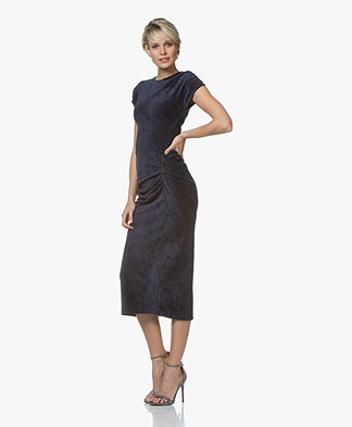 By Malene Birger Terry Velvet Midi Dress - Night Sky