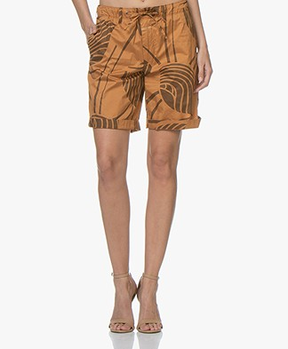 Closed Lya Printed Poplin Shorts - Caramel