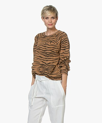 Ragdoll LA Distressed Zebra Print Sweatshirt - Brown
