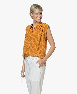 Drykorn Narella Leopard Print Blouse Top - Orange