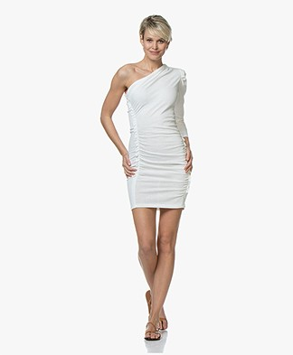 IRO Loving Jersey One-shoulder Jurk - Off-White