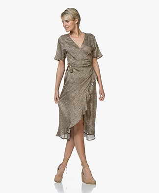 Plein Publique L'Etoile Viscose Printed Wrap Dress - Panther
