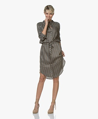 Plein Publique La Chemise Viscose Printed Shirt Dress - Cercles