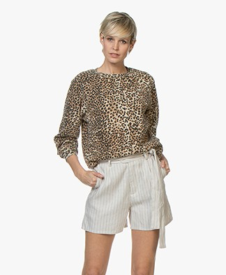 Ragdoll LA Distressed Leopard Print Sweatshirt - Brown
