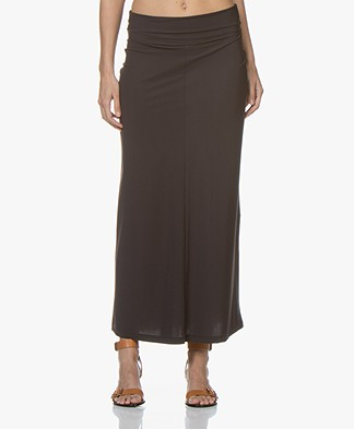 no man's land Travel Jersey Maxi Skirt - Brown Black