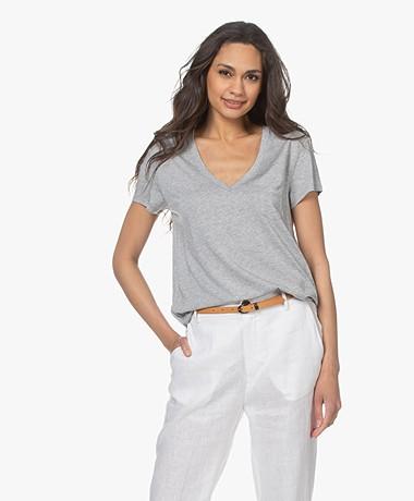 Repeat Lyocell Mix V-hals T-shirt - Grijs