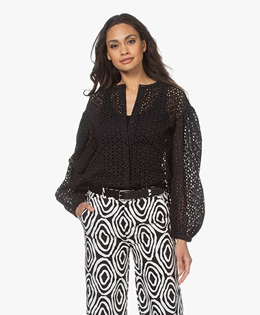 Resort Finest Isabella Broderie Anglaise Blouse - Black