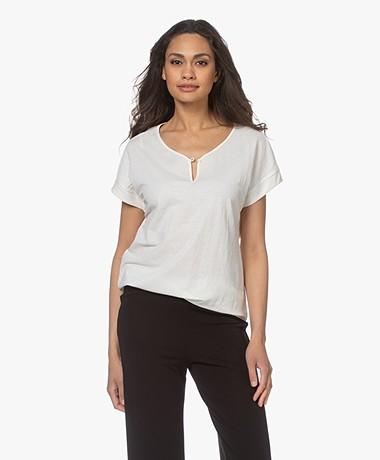 Kyra & Ko Jacobien Piqué Short Sleeve Blouse - Warm White