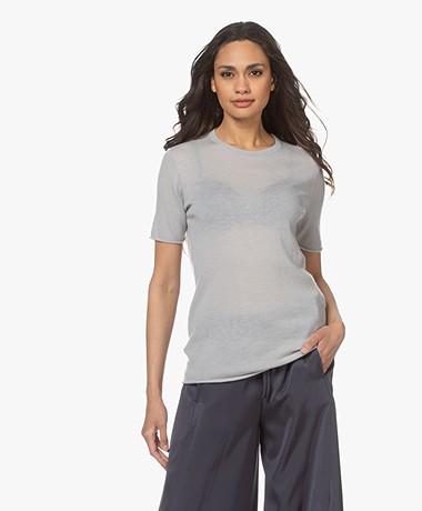 Joseph Cashair Knitted Cashmere T-shirt - Cloud