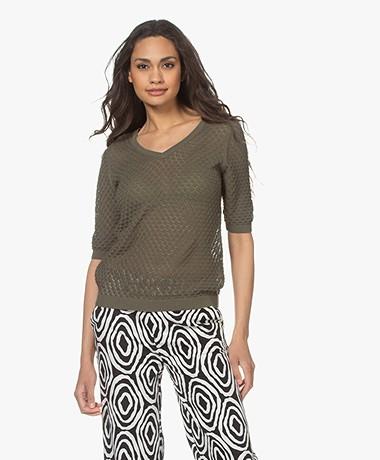 Kyra & Ko Birgit Cotton Ajour Short Sleeve Sweater - Green Moss