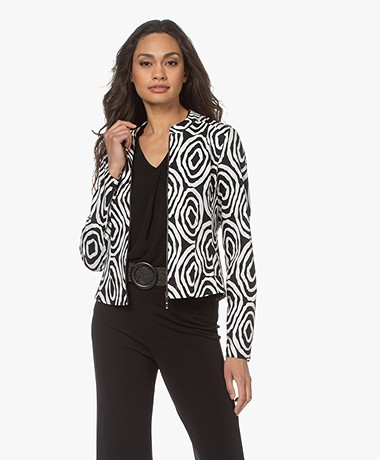 Kyra & Ko Belia Printed Stretch-Cotton Jacket - Black/White