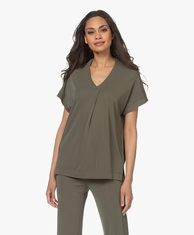 Kyra & Ko Selma Crêpe Jersey T-shirt - Green Moss