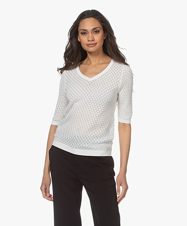 Kyra & Ko Birgit Cotton Ajour Short Sleeve Sweater - Warm White
